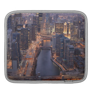 Chicago River and Trump Tower from above iPad Sleeves