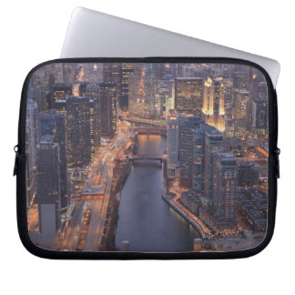 Chicago River and Trump Tower from above Laptop Sleeves