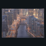 "Chicago River and Trump Tower from above Placemat<br><div class=""desc"">Chicago River and Trump Tower from above during sunset in December with clear crisp skies. 