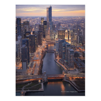 Chicago River and Trump Tower from above Postcard