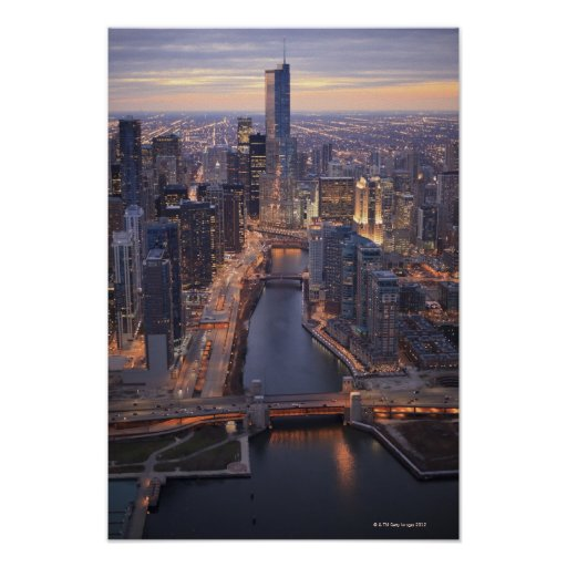 Chicago River and Trump Tower from above Print