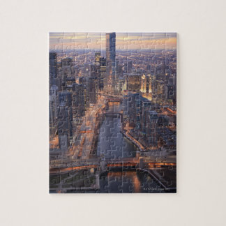 Chicago River and Trump Tower from above Puzzle