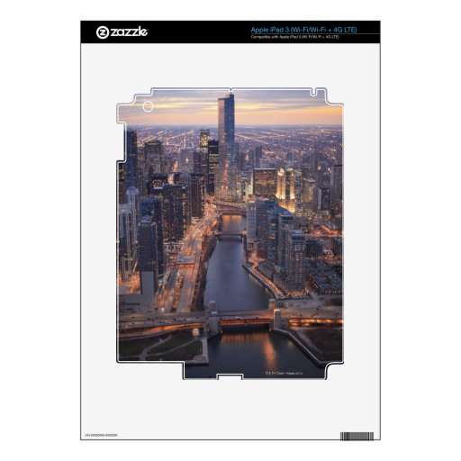 Chicago River and Trump Tower from above Decals For iPad 3