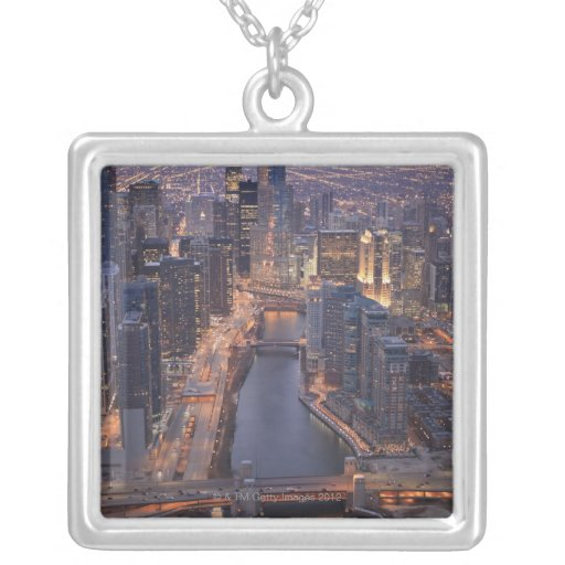 Chicago River and Trump Tower from above Square Pendant Necklace