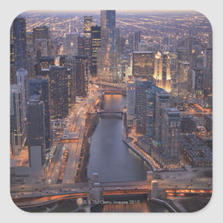 Chicago River and Trump Tower from above Square Sticker