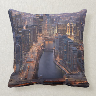 Chicago River and Trump Tower from above Throw Pillow