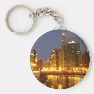 Chicago River at night Keychains
