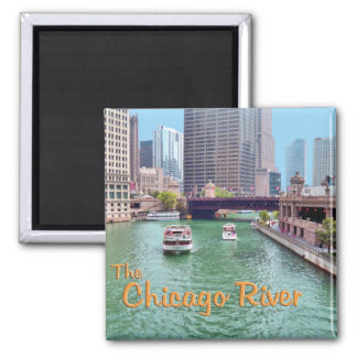 Chicago River At The Merchandise Mart 2 Inch Square Magnet