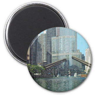Chicago River Columbus Drive Boat Scene 2 Inch Round Magnet