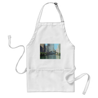 Chicago River Columbus Drive Boat Scene Adult Apron