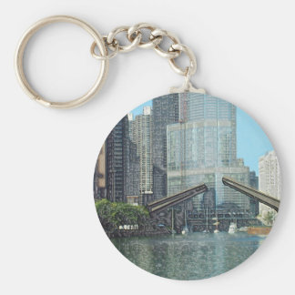 Chicago River Columbus Drive Boat Scene Basic Round Button Keychain