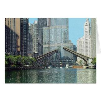 Chicago River Columbus Drive Boat Scene Card