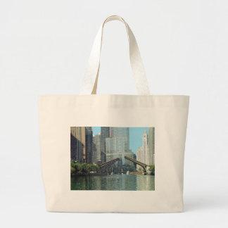 Chicago River Columbus Drive Boat Scene Large Tote Bag