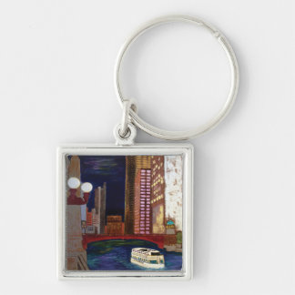 Chicago River Silver-Colored Square Keychain