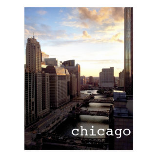 Chicago River View from Marina City Postcard