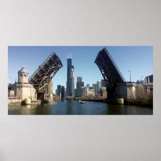CHICAGO ROOSEVELT BRIDGE UP POSTER