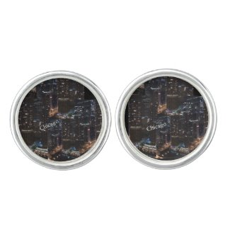 Chicago Round Cufflinks, Silver Plated Cufflinks