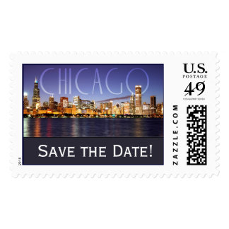 Chicago Save the Date Postage Stamp