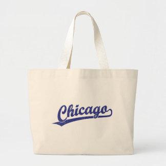 Chicago script logo in blue canvas bag