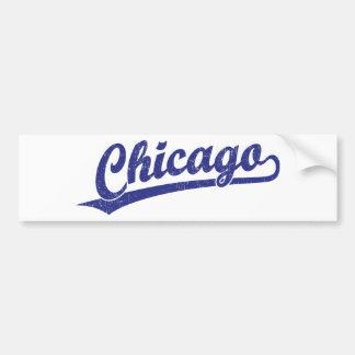 Chicago script logo in blue car bumper sticker