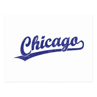 Chicago script logo in blue postcard