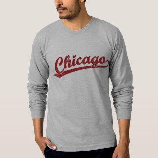 Chicago script logo in red T-Shirt