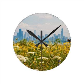 Chicago según lo visto del pájaro del puerto de Mo Reloj Redondo Mediano