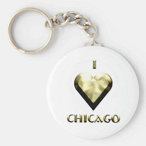 Chicago -- Shimmering Gold Keychains