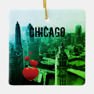 Chicago Skyline1930's from Above view Photograph Ceramic Ornament