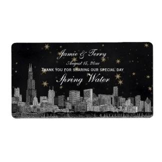 Chicago Skyline #2 Black Gold Star H Water Bottle Label