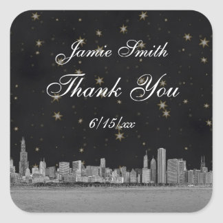Chicago Skyline #2 Black Gold Star Thank You Square Sticker