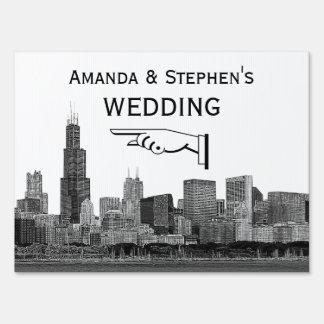 Chicago Skyline #2 Etch Look Wedding Sign Med