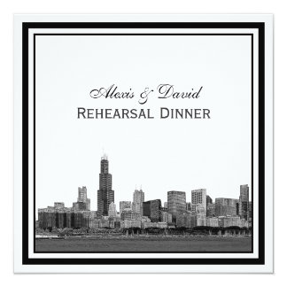 Chicago Skyline #2 Etched Framed Rehearsal Dinner Card
