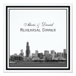 Chicago Skyline #2 Etched Framed Rehearsal Dinner Personalized Announcements