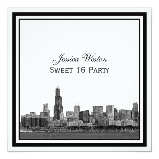 Chicago Skyline #2 Etched Framed Sweet 16 5.25x5.25 Square Paper Invitation Card