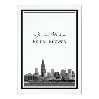Chicago Skyline #2 Etched Framed V Bridal Shower Card