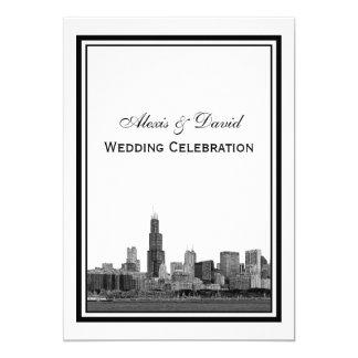 Chicago Skyline #2 Etched Framed V Wedding Card