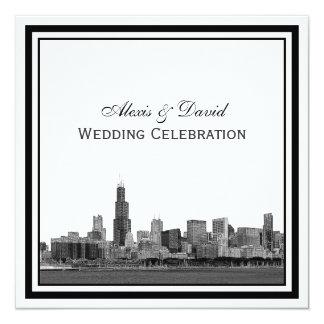 Chicago Skyline #2 Etched Framed Wedding Card