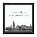 Chicago Skyline #2 Etched Framed Wedding 5.25x5.25 Square Paper Invitation Card