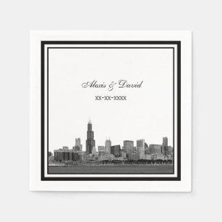 Chicago Skyline #2 Etched Framed Wedding Disposable Napkin