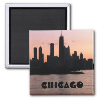 Chicago skyline 2 inch square magnet