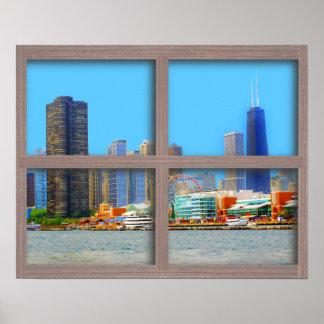 Chicago Skyline 4 Panel Wood Window Poster