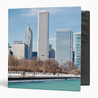 Chicago skyline across frozen Lake Michigan 3 Ring Binder