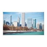 Chicago skyline across frozen Lake Michigan Canvas Prints