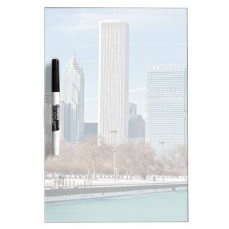 Chicago skyline across frozen Lake Michigan Dry-Erase Board