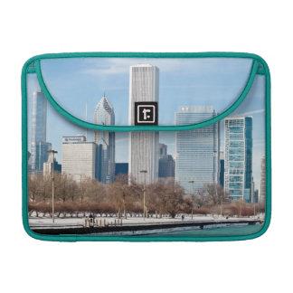 Chicago skyline across frozen Lake Michigan Sleeves For MacBook Pro