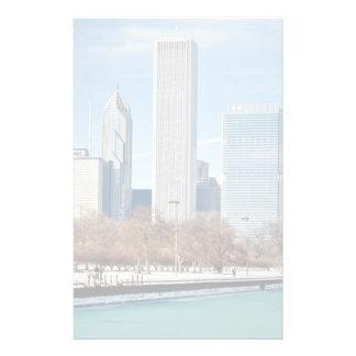 Chicago skyline across frozen Lake Michigan Stationery