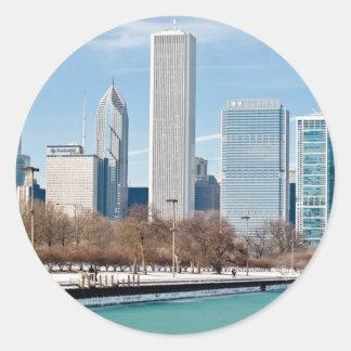 Chicago skyline across frozen Lake Michigan Round Stickers