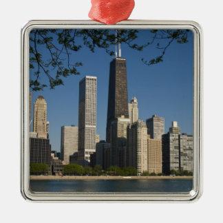 Chicago skyline and Lake Michigan, Lake Shore Square Metal Christmas Ornament