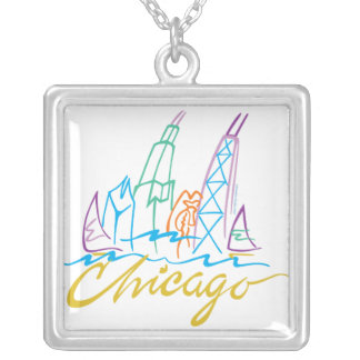 Chicago Skyline and Script Silver Plated Necklace